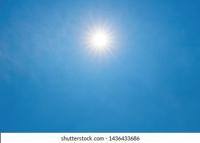 Sun shines in blue sky amid beautiful cloud.