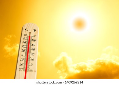 The sun shines hot in the summer, with heat gauges.