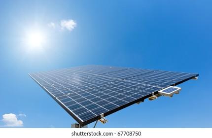 Sun shines on Solar Panel
