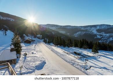 Sun shines over the czech mountains, ski resort Spindleruv mlyn