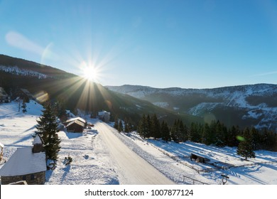 Sun shines over the czech mountains, ski resort Spindleruv mlyn