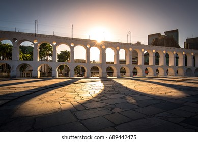 Sun Shines Through Landmark Lapa Arch in Rio de Janeiro City Downtown