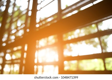The sun shines through window in the morning