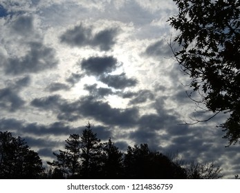 Sun shining behind white and gray small billowy clouds with tree silhouettes