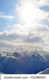 Sun Shining Down on Lake Superior Ice Shards  - Minnesota Landscape in the Dead of Winter