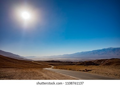 Sun Shining on a Road in Death Valley, California, USA