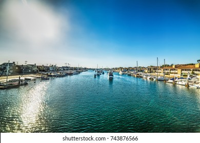 Sun shining over Balboa island in Newport Beach. California, USA