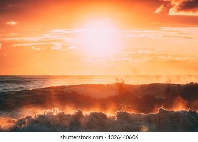 Sun Shining Over Horizon At Sunset Or Sunrise. Evening Sea. Ocean Waves In Warm Colors Sunset Sunrise Sky Lights. Natural Sky