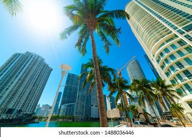 Sun shining over Miami riverwalk, USA