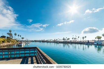 Sun shining over Oceanside harbor, Southern California