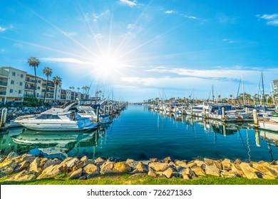 Sun shining over Oceanside harbor. California, USA
