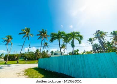 Sun shining over a residential neighborhood in Florida Keys. Southern Florida, USA
