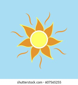 The sun sign on blue background. Orange solar mark. Bright, sunny icon good mood. Isolated logo spring, summer. Symbol hot, warm, sunlight and good weather. Flat image. illustration.