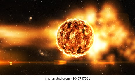 sun solar center of space in galaxy orange glow use for science design
