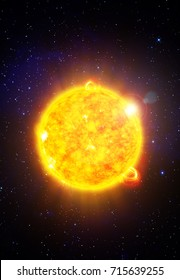 Sun with solar flares - 3D scientific illustration