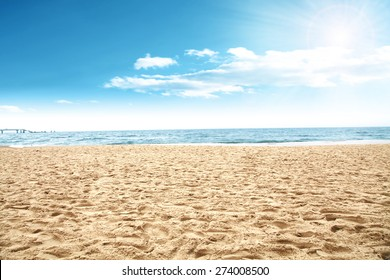 sun of summer time on sky and sand of beach