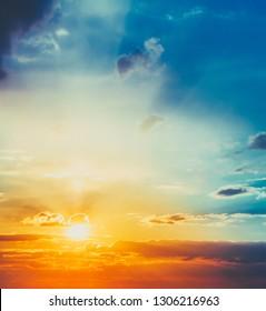 Sun, sunset, sunrise. Colorful toned sky background.