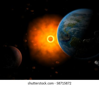 Sun system with Earth, Sun and Mars