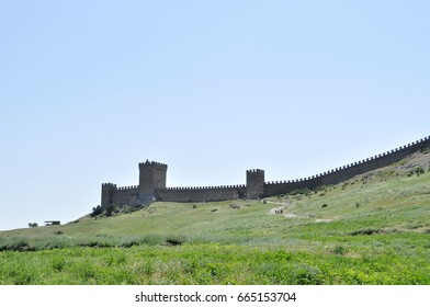 in the sun tower the battlements of Genoese fortress in the Crimea Peninsula Russian Federation