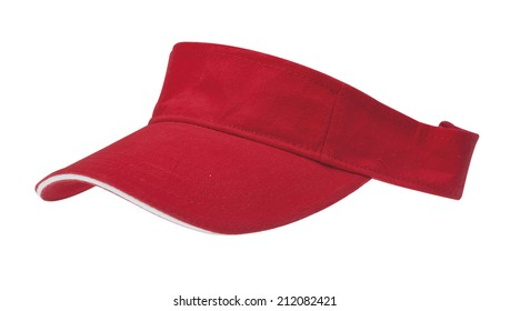 Sun visor hats, red with white edge and with clipping path