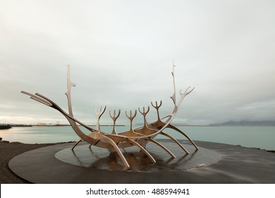 Sun Voyager sculpture in Reykjavik Iceland at sunset