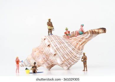 sunbathers miniatures with a big hermit crab shell