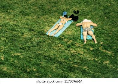 sunbathers on the grass