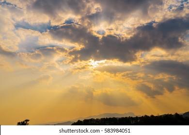 Sunbeam ray light cloud sky twilight color