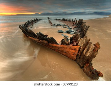 The Sunbeam  ship wreck on the Rossbeigh beach