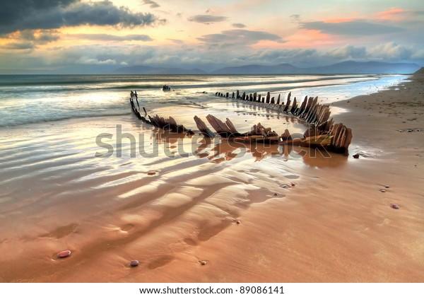 The Sunbeam ship wreck on the Rossbeigh beach, Ireland