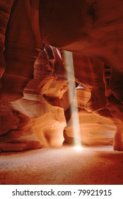 Sunbeam in slot canyon