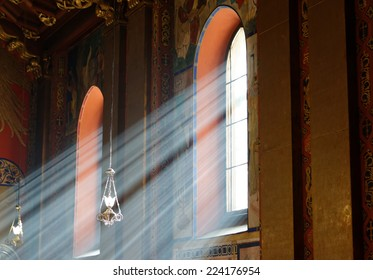 Sunbeams passing through windows in Armenian church of Lviv