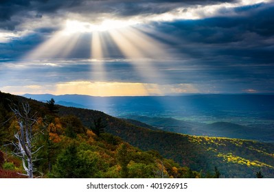 Sunbeams Shining through Clouds in Shenandoah National Park