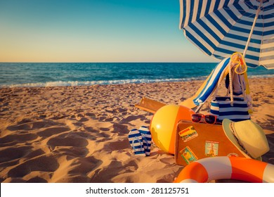 Sunbed on the beach. Summer vacation concept