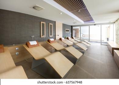 Sunbeds in hotel spa center