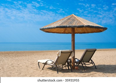 Sunbeds on the beach in Turkey