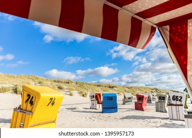 Sunbeds on Langeoog beach in Germany