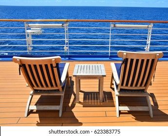 Sunbeds on open deck of cruise ship with wonderful ocean view