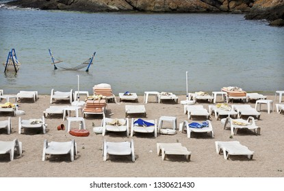 Sunbeds and sea hammock at Golden Beach, Rumeli Feneri, Sariyer in Istanbul, Turkey.