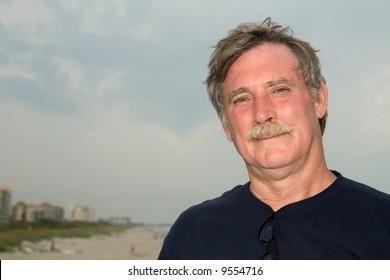 sunburned man at Cocoa Beach, Florida