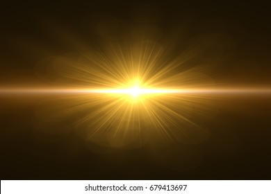 sunburst with Lens flare light over black background. Easy to add overlay or screen filter over photo.Sunshine and light beam or sun rays. skin to protect concept. natural background