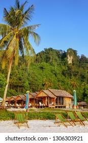 Sunchairs at Ao Ton Sai beach on Phi Phi Don Island, Krabi Province, Thailand. Koh Phi Phi Don is part of a marine national park.