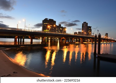 Sundale Bridge with Southport skyline at sunset in Gold Coast, Queensland AUstralia.