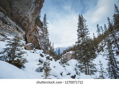 Sundance Canyon in a cold winter, Banff National park, Landscape of Canadian Rockies, Alberta, Canada