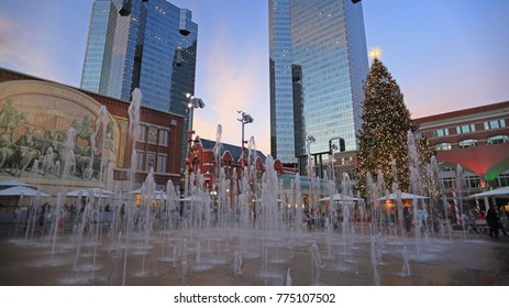 SUNDANCE SQUARE FORT WORTH NOV 2017: A 65-foot tall natural Christmas tree is festive illuminated during the holiday season at the historic Sundance Square in downtown Fort Worth, Nov 24, 2017.