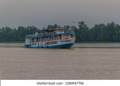 SUNDARBANS, BANGLADESH - NOVEMBER 14, 2016: M. V. DINGHY ship of The Bengal Tours. during Sundarbans tour, Bangladesh