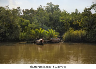 The Sundarbans, September 10, 2016. A landscape view of a river of The Sundarbans mangrove forest, one of the largest such forests in the world and the local fishermen boats.