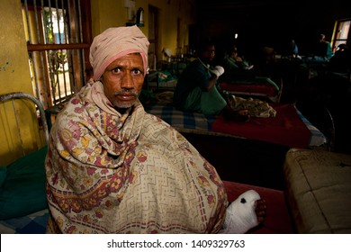 Sundarpur, India - 2011: Unidentified Indian leprosy patient in a local leprosy hospital in Sundarpur, Bihar state, India