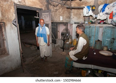 Sundarpur, India - 2013: Unidentified Indian leprosy patients in a rural leprosy colony in Ramgaduwa, Bihar state, India