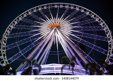 Sunday 26 May 2019, Bangkok, Thailand : the biggest Ferris wheel in Bangkok at Asiatique the riverfront near Mekong river